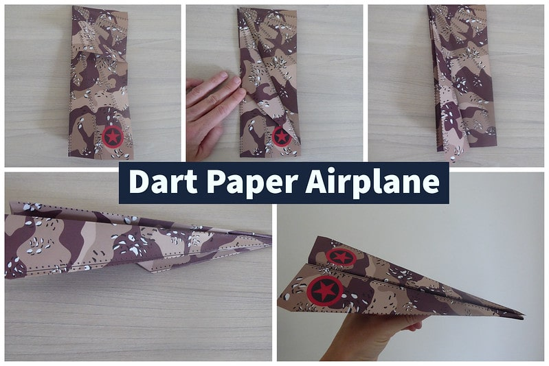 Visual step by step guide to making a dart paper airplane.