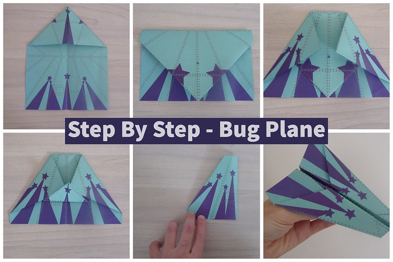 Visual step by step guide to making a bug paper airplane.