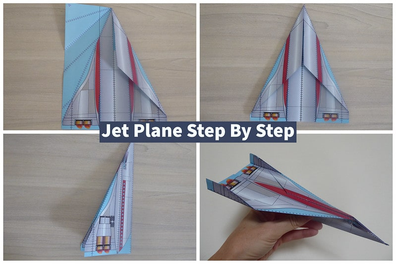 Visual step by step guide to making a jet paper airplane.