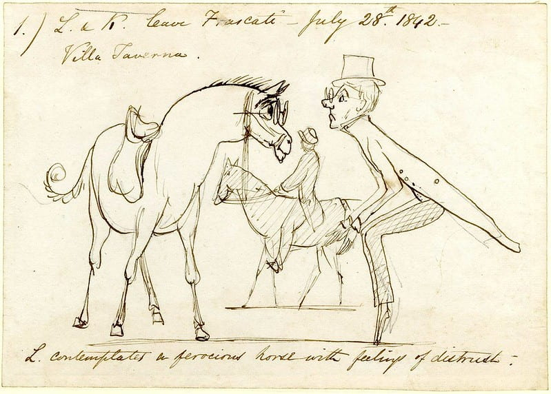 Sketch of Edward Lear poetry, a man looking at a horse.
