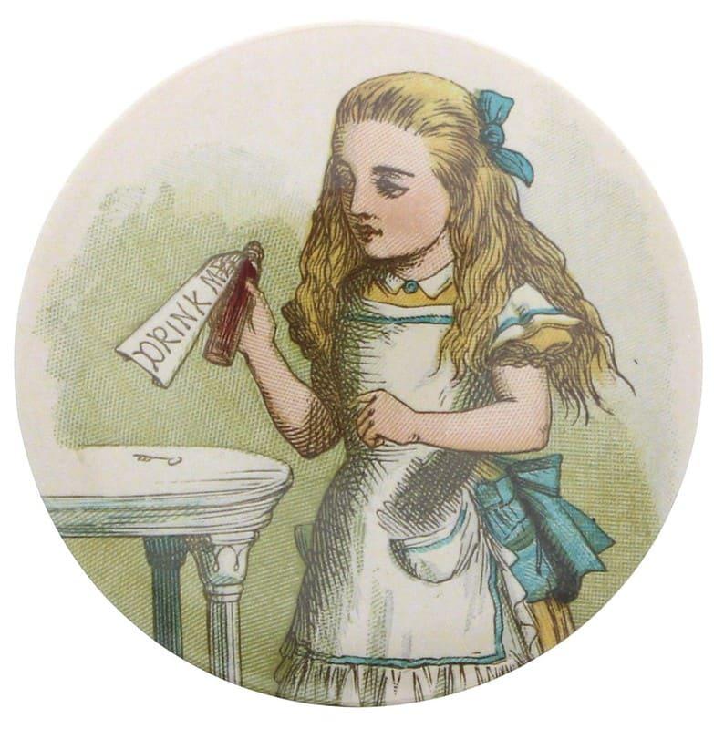Sketch of Alice in Wonderland holding a potion bottle.