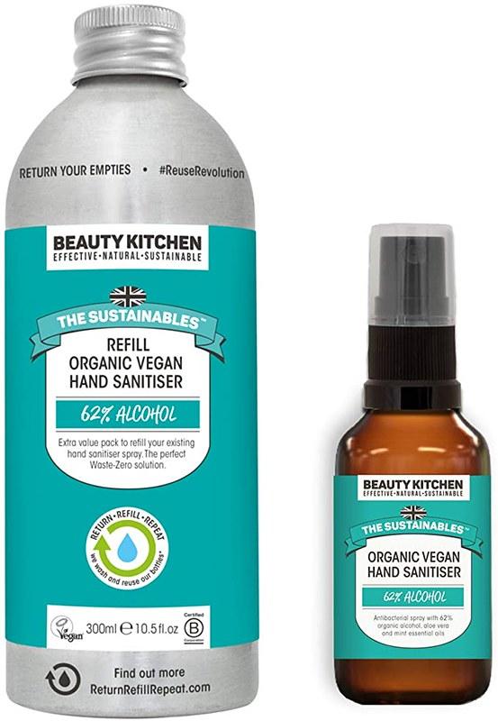 Beauty Kitchen Refillable Organic Hand Sanitiser.