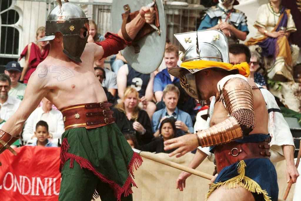 Reenactment of Roman gladiators fighting.