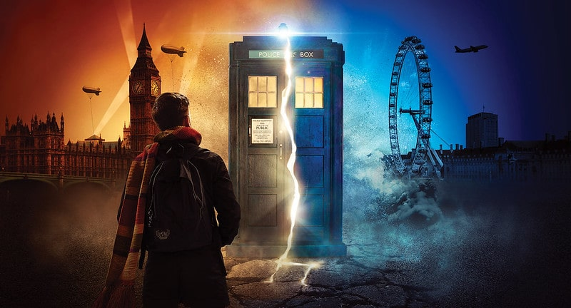 Man walking towards the Doctor Who Tardis in an immersive experience.