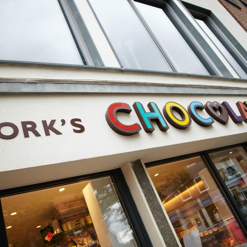 Exterior of York's Chocolate Story shop.
