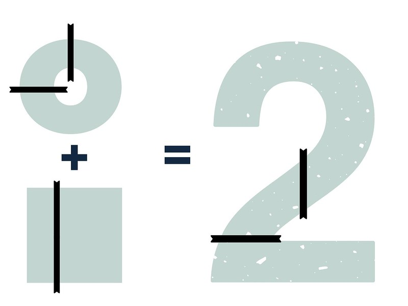 Diagram showing how to cut cakes to make the shape of the number 2.