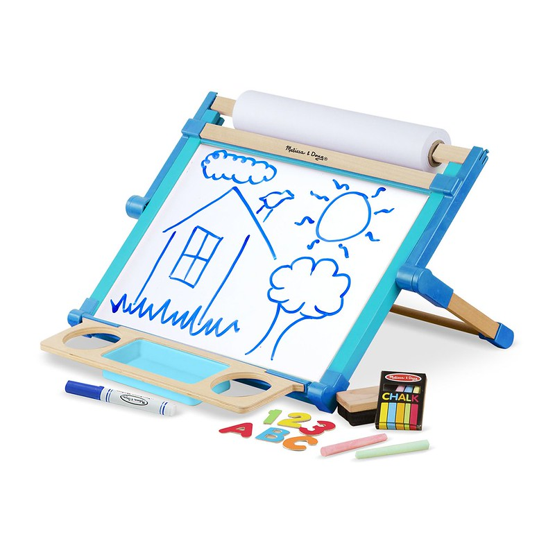 Melissa and Doug Wooden Double-Sided Tabletop Easel.