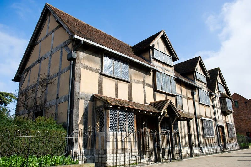 A restored 16-century half-timbered Tudor house in Stratford-upon-Avon, Shakespeare's Birthplace.