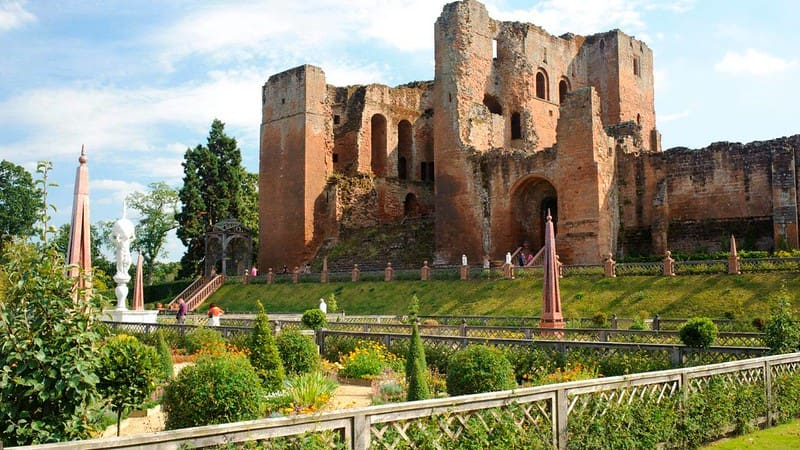 Kenilworth Castle with its Elizabethan Garden in the foreground.