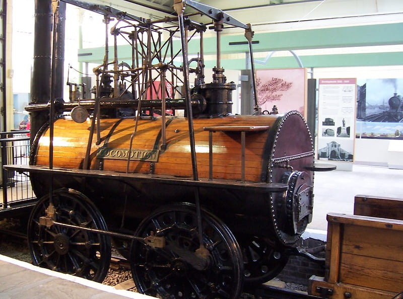 Stephenson's Locomotion No.1, on display in a museum.