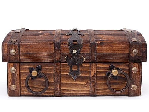 A wooden Tudor treasure chest, made by a carpenter.