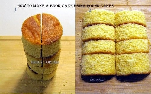 Steps showing how to make the shape of a book cake using round cakes.