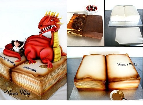 Steps showing how to decorate a book cake with a dragon sat on it.