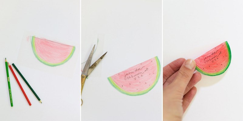 DIY luggage tag drawn and cut to look like a piece of watermelon.