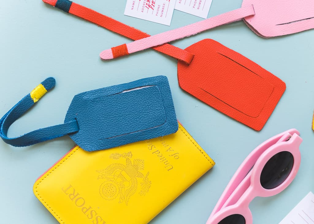 DIY coloured leather luggage tags.