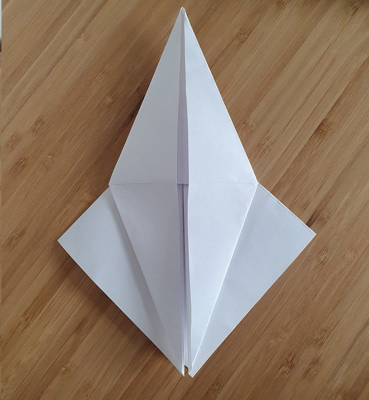 Step 3 to making an origami crow.