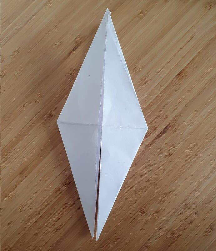Step 4 to making an origami crow.