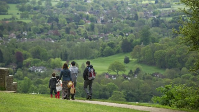 Family on a hike on Box Hill, a great climb on the edge of London.