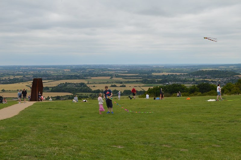 View from Dunstable Downs, kids are flying kites.