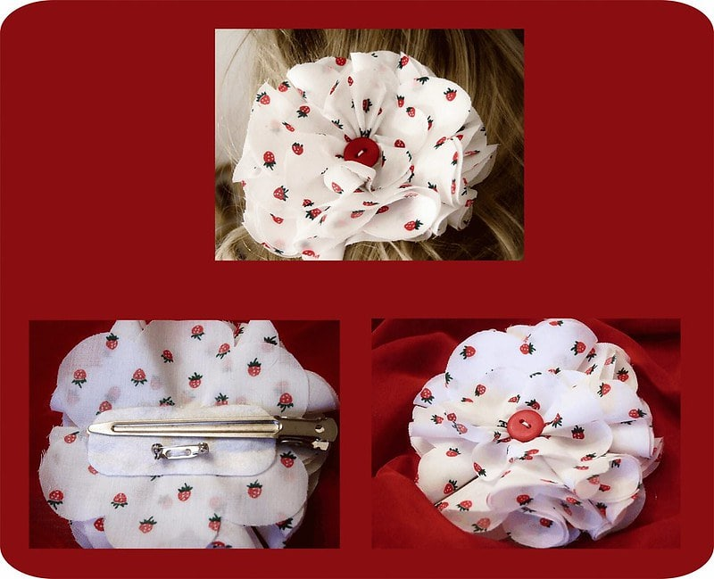 Pictures of the finished product, a flower brooch and its use on a hairtie, clip or simply a brooch.