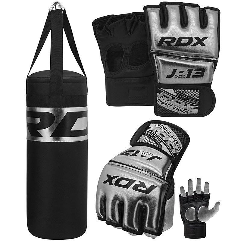 RDX Junior MMA Grappling Gloves And 2 ft Punching Bag Set.