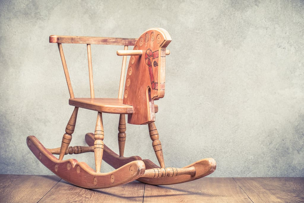 Vintage style wooden rocking horse.