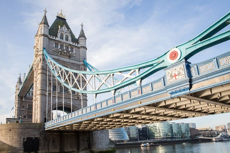A close-up view of Tower Bridge and the famous crossing.