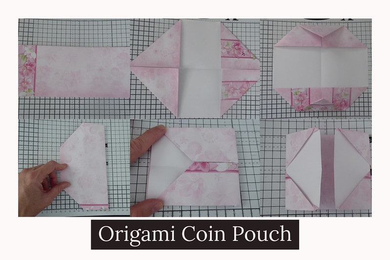 Step by step visual instructions to make an origami coin purse.