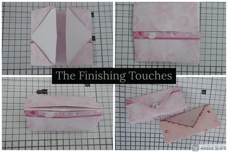 Steps showing the origami coin purse with the finishing decorative touches.