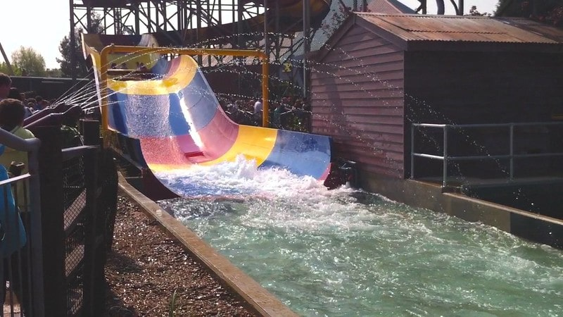 End of the water slide of Storm Surge ride.