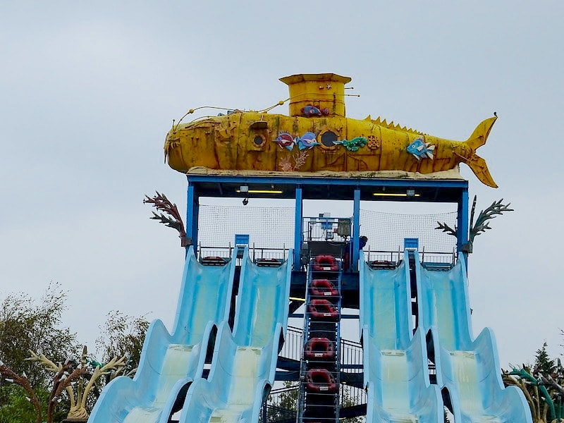Four wavy slides which make up Depth Charge ride at Thorpe Park.