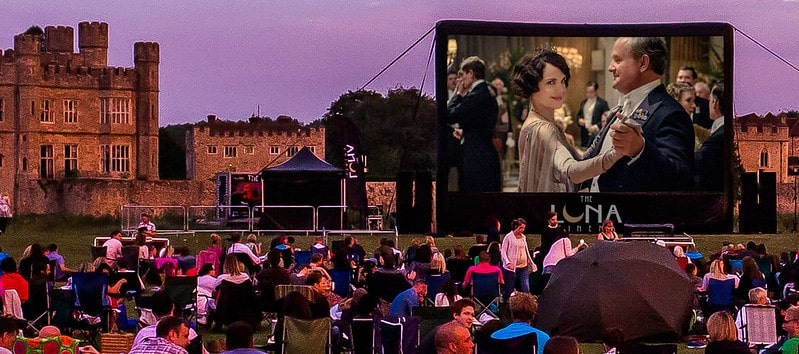 Open air showing of Downton Abbey at Luna Cinema in Kent, overlooking Leeds Castle.