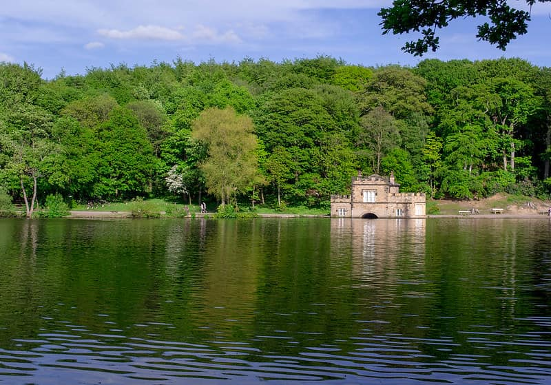View of Newmillerdam boathouse across the lake.