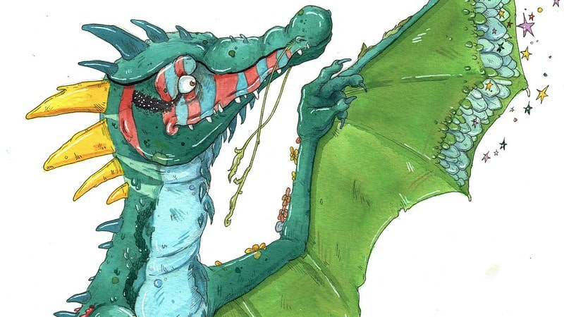 Watercolour painting of a green dragon.