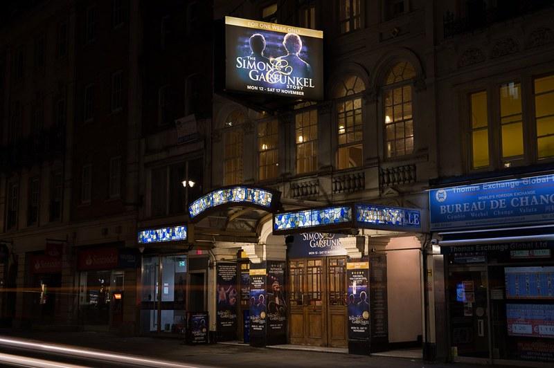 Exterior of the Cambridge Theatre for The Simon & Garfunkel Story show.