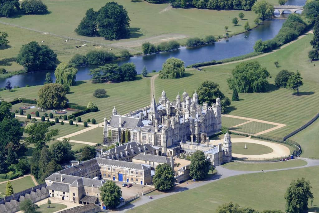 Aerial view of the beautiful, Elizabethan Burghley House.