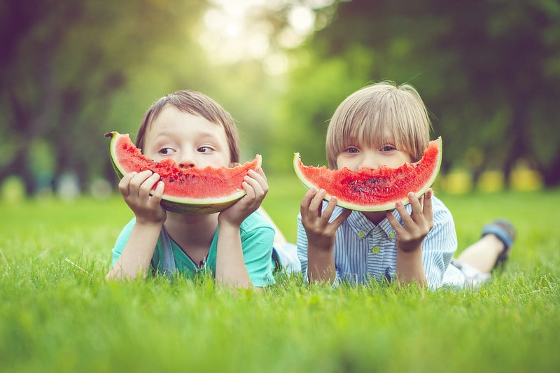 Two boys lying on their stomachs in the grass, holding up watermelon wedges as smiles.