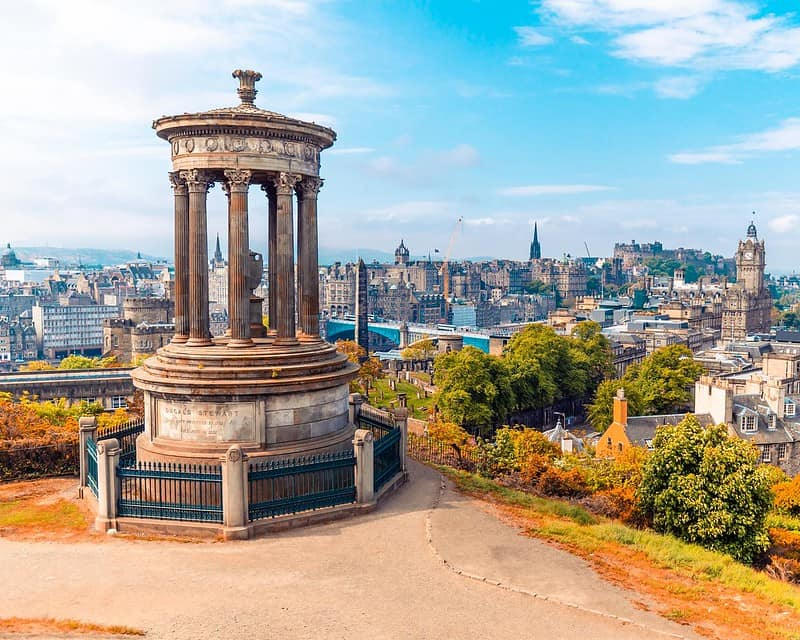 View of Edinburgh in autumn from the top of its famous hill.