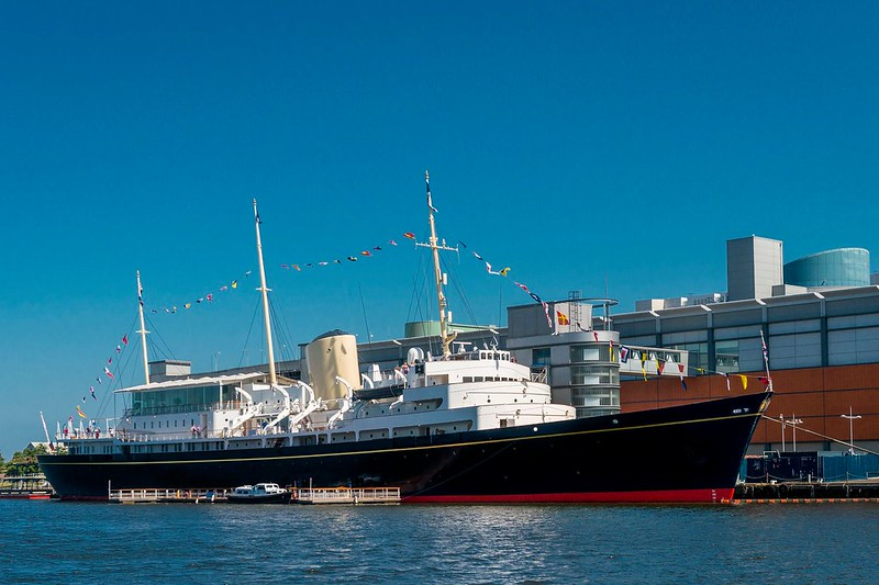 A full view of the Royal Yacht Britannia berthed at Leith docks.
