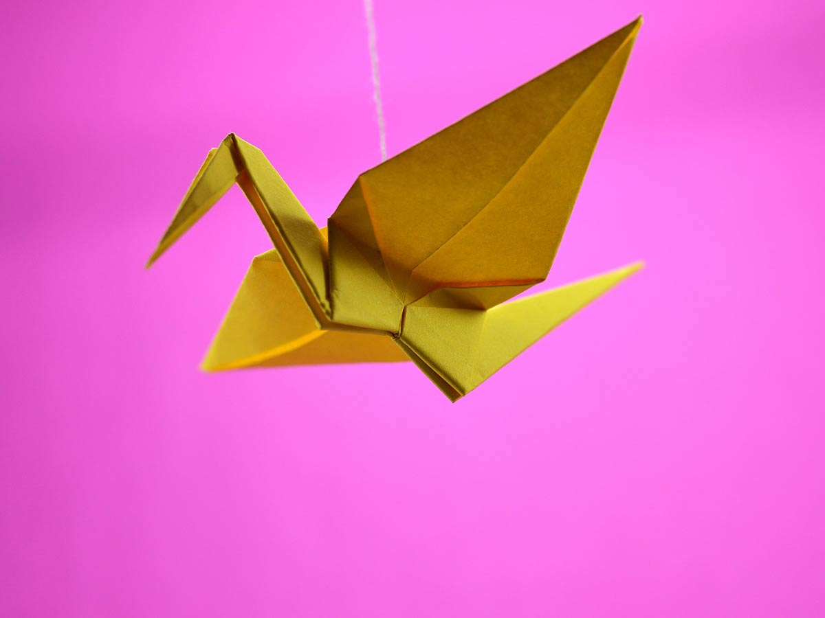 Golden origami bird with wings spread in front of a pink background.