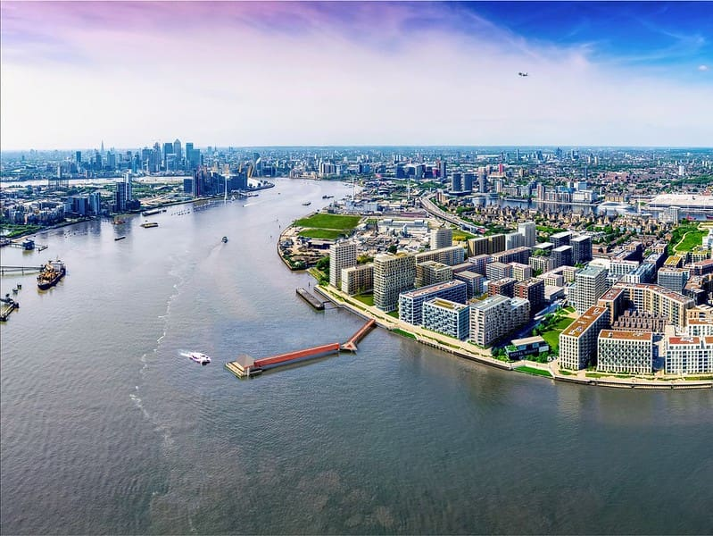 An aerial view of Royal Wharf Pier and the ExCel London in East London.