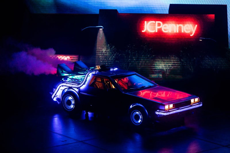 The time machine car on stage at Back To The Future The Musical.
