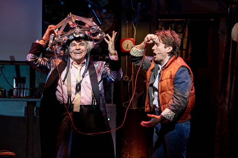 Actors playing Doc Brown and Marty McFly on stage at Back To The Future The Musical.