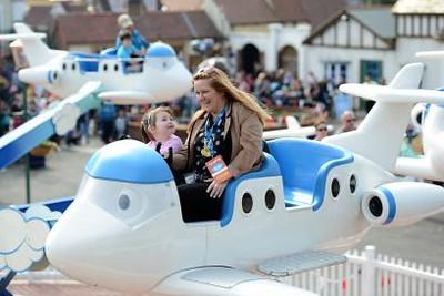 Family on Drayton Manor plane ride.