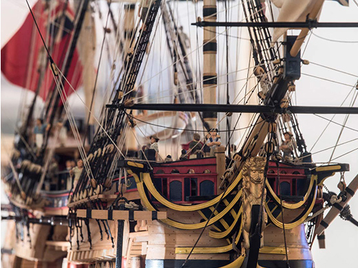 Model ship at Museum of London Docklands.