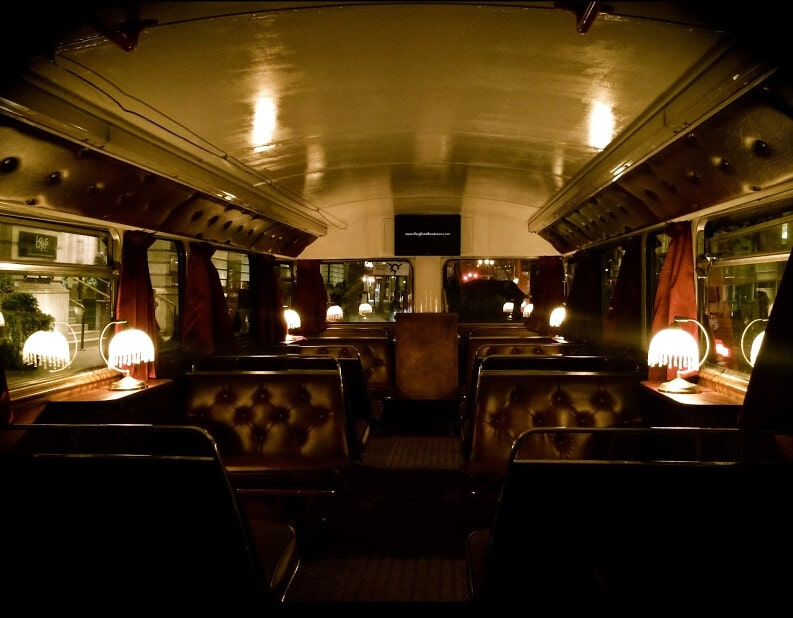 Interior of the old-fashioned Ghost Bus Tour Routemaster bus.