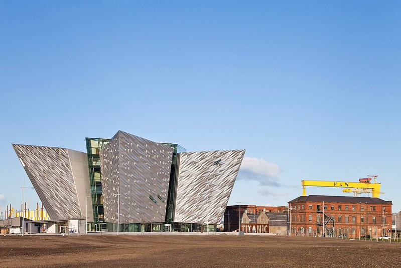 A panoramic view of the iconic Titanic Belfast building.