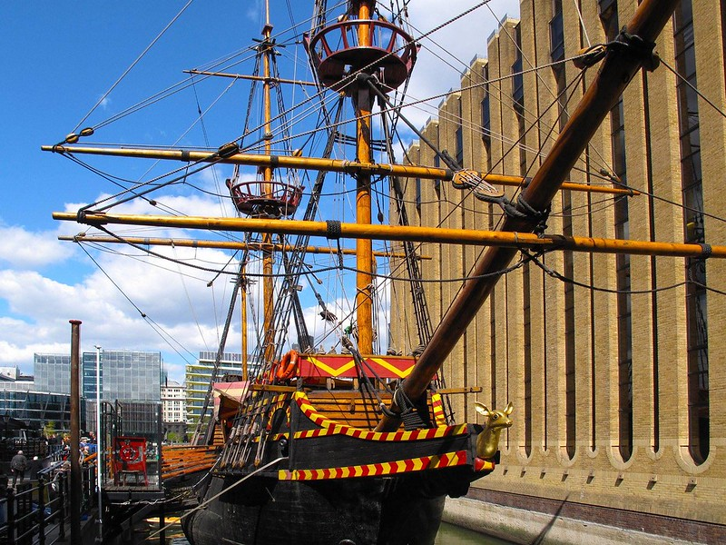 The Golden Hinde moored, head on perspective.