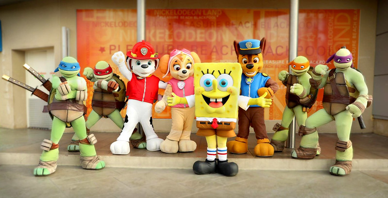 Characters from Nickelodeon Land at Blackpool Pleasure Beach.