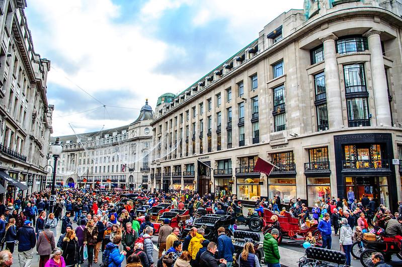 Crowds at Regent Street motor show.